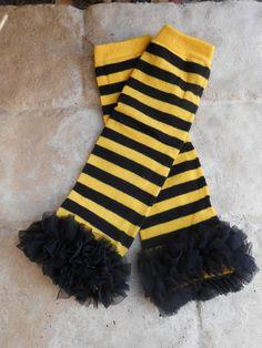 Bumblebee black and yellow striped leg warmers with chiffon ruffles
