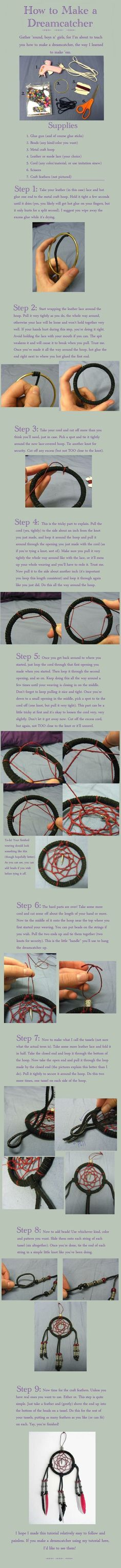 DIY/Tutorials/Crafts / How to Make a Dreamcatcher The dream catcher is hung above a sleeping area in a place where the morning light can hit it. The nature of the Dream Catcher will attract all sorts of dreams to its webs. When bad dreams come, they do not know the way through the web and get caught in the webbing where the first light of day causes them to melt away and perish. The good dreams knowing the way go through the center of the web and slide down the feather to the sleeper below.