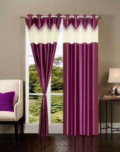 Shop HOME ELITE BEAUTIFUL POLYESTER DOOR CURTAINS (SET OF 2) RG-CTT-324 Online for best deal