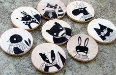 Hand drawn magnets - MORE ART, LESS CRAFT by andralynn on craftster!