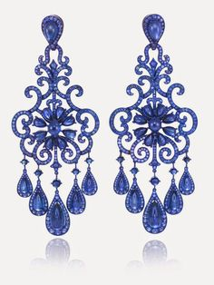 GABRIELLE'S AMAZING FANTASY CLOSET | Chopard Sapphire Chandelier Earrings. | You can see the rest of the Outfit and my Remarks on this board. - Gabrielle