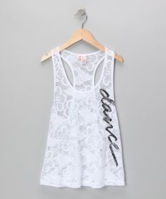 White 'Dance' Crocheted Lace Tank - Girls