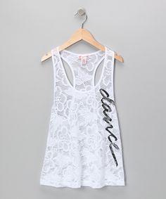 White 'Dance' Crocheted Lace Tank - Girls