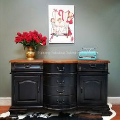 dining room hutches buffets - dining room hutches buffets You are in the right place about decor inspiration Here we off - Antique Hall Tree, Antique Buffet, Antique Chairs, Black Painted Furniture, Painting Furniture, Dining Room Hutch, Furniture Makeover, Furniture Update, Furniture Projects