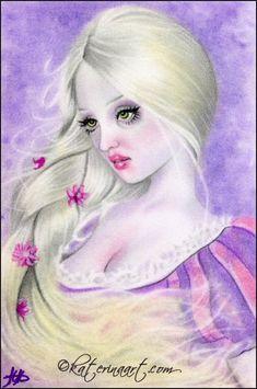 Tangled Braid , Katerina Art ,Fantasy and Portraiture art by Katerina Art,The beautiful pencil art by Katerina Koukiotis