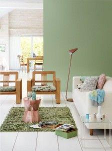 green color interior Source by suzannevdraaij Interior Wall Colors, Interior Walls, Interior Design Living Room, Living Room Colors, Bedroom Colors, Green Apartment, Mint Walls, Interior Wallpaper, Colorful Interiors