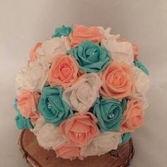 Artificial Flower Bouquet - Blue and Coral http://ift.tt/2pRXcHA #blue #wedding #flowerarrangements # weddingflowers # shell # shells #ivory #diamanté # tomandjennysweddings #round #coral #turquoise #blue #white #peach # (view on Instagram http://ift.tt/2qgYyLC)