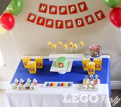 Lego Birthday Party Ideas and Lego Party Table Party Printables