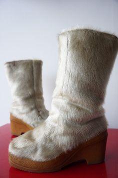 MOON BOOTS Bottes neige POils chevre snow Vintage vtg 70 T 39 yeti hippy fourrée