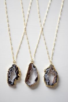 Agate Druzy Geode Necklace . Black Crystal Pendant Long by SHAZOEY, $132.00