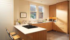 mid-century modern kitchen Maple Cabinets, Wood Cabinets, Kitchen Cabinets, Green Tile Backsplash, White Counters, Mid Century Modern Kitchen, Mid Century House, Vintage Kitchen, Countertops