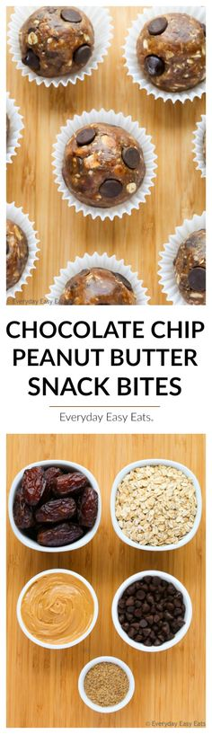 No-bake, 5-Ingredient Chocolate Chip Peanut Butter Snack Bites that are as healthy as they are delicious. Full of fiber and protein!