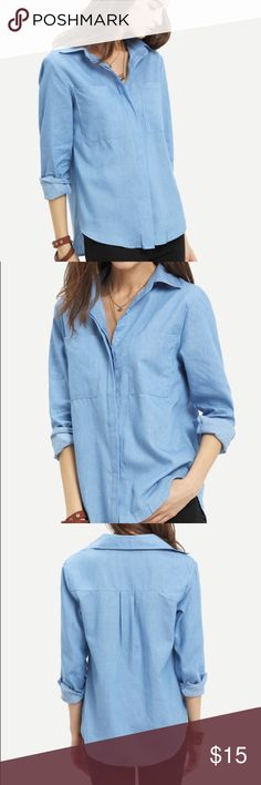 Oversized Chambray Blouse Light weight chambray blouse with double pockets. Boyfriend style button great for work or lounging out. Measurements for this item: Shoulder 15.7in / Bust 39.7in / Length 27in She In - Asian Brand Tops Blouses