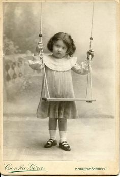 Little girl with a swing   Cabinet card, 1905 Photographer/Fényképész: Csonka Géza Marosvásárhely, Transylvania/Hungary