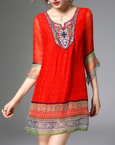 Silk Red Bohemian V Neck A Line Mini Dress