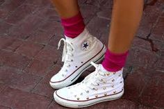 Image result for white leather converse on feet