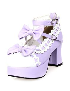 da7648cde81 Sweet Chunky Heels Lolita Shoes Platform Bows White Trim Ankle Strap Heart  Shape Buckles  Shoes