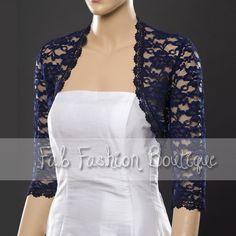 Navy blue 3/4 sleeved lace bolero jacket shrug Size S-XL
