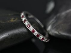 Grace 14kt Diamond and Ruby Diamond Halfway Eternity Band (Other Metals and Stone Options Available)