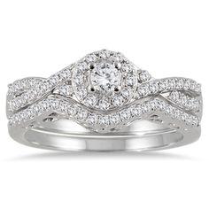 10k White Gold 3/4ct TDW Split-shank Diamond Bridal Ring Set (I-J, I1-I2) - Overstock™ Shopping - Top Rated Bridal Sets