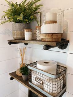 Bathroom Shelf Decor, Boho Bathroom, Bathroom Renos, Decorating Bathroom Shelves, Wood Bathroom Shelves, Bathroom Black, Bathroom Ideas, Diy Pipe Shelves, Industrial Pipe Shelves