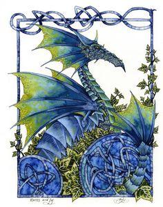 Knots Ivy, Limited Edition Print, #amybrown #dragon #fantasyart