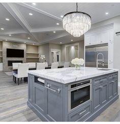 Amazing Ideas For Luxury White Kitchen Design Decor Ideas. Luxury white kitchen decor and design Luxury Kitchen Design, Luxury Kitchens, Cool Kitchens, Small Kitchens, Modern Kitchens, Contemporary Kitchens, Grey Kitchens, Kitchen Modern, Beautiful Kitchens