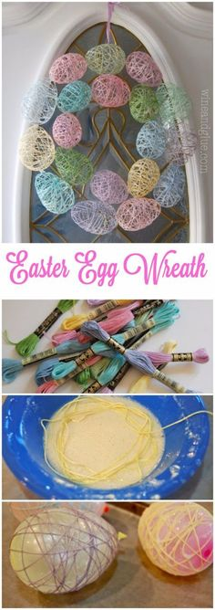 DIY Easter Decorations - Decor Ideas for the Home and Table -  Easter Egg Wreath - Cute Easter Wreaths, Cheap and Easy Dollar Store Crafts for Kids. Vintage and Rustic Centerpieces and Mantel Decorations. diyjoy.com/...