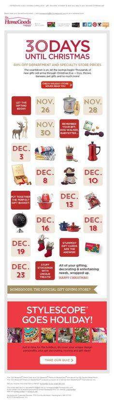 HomeGoods holidays 2013 email marketing