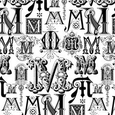 Regal M's fabric by wrapartist on Spoonflower - custom fabric Tattoo Fonts Alphabet, Tattoo Lettering Fonts, Hand Lettering Alphabet, Doodle Lettering, Alphabet Art, Lettering Design, Gothic Lettering, Graffiti Lettering, Graffiti Alphabet Styles