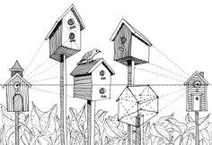 Voorbeeld tweepuntsperspectief tekening vogelhuisjes. Uitbreidingsoefening
