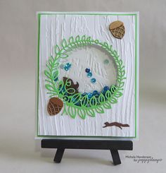 Nutty as a Squirrel - poppystamps Memory Box Cards, Memory Box Dies, Shaker Cards, Cardmaking, Boxer, Paper Crafts, Memories, Impression Obsession, Frame