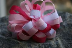 Pink white handmade boutique style bow. by RockabillyBabyPlace, $4.00