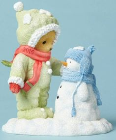 Cherished Teddies 2016 Dated Figurine. Commemorate the 2016 Christmas Season with this years annual 2016 Dated Cherished Teddies Figurine. Titled: Friends Throughout Snowy Days and Frosty Nights. This figurine features a Cherished Teddie with a special snowman friend. The 2016 date is on the Cherished Teddies scarf. Click image to order at www.CollectibleShopping.com #CherishedTeddies #2016Christmas #Figurine #Dated