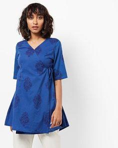 Check out Printed Angrakha Short Cotton Kurta on AJIO! Indigo, Tunic Tops, Printed, Casual, Check, Cotton, Shopping, Dresses, Women