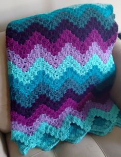 Rainbow Ripple Blanket Free Crochet Pattern