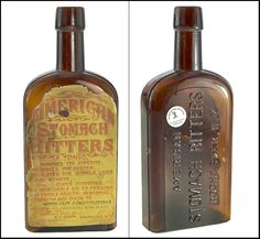 """AMERICAN - STOMACH BITTERS - ROCHESTER, N.Y."""", (Ring-Ham, A-54), New York, ca. 1885 - 1895, amber strapsided bottle - .jpg"""