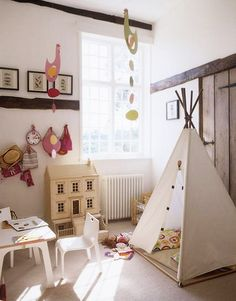 White bright airy childrens bedroom playroom tent