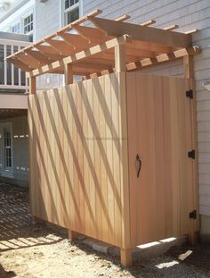 Tasteful Pine Wooden Half Screen Outside Shower With Pergola Roofs As Inspiring Country Cottage Backyard Wooden Shower Room Designs Ideas