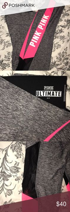 Ultimate yoga pants Like new condition, worn once, great material that hardly ever wears down PINK Victoria's Secret Pants Leggings
