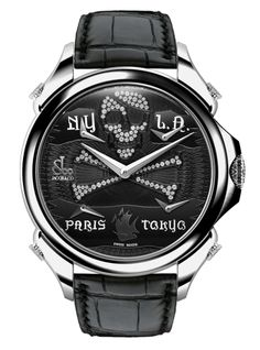 Jacob & Co.'s Palatial FTZ Timepiece with Black PVD dial with pirate design and diamonds Cool Watches, Men's Watches, Luxury Watches For Men, Chronograph, Omega Watch, Fine Jewelry, Engagement Rings, Accessories, Black