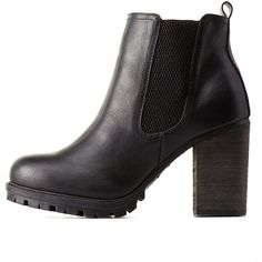 Charlotte Russe Black Lug Sole Chunky Heel Chelsea Booties by... ($46) ❤ liked on Polyvore featuring shoes, boots, ankle booties, black, beatle boots, chelsea boots, chunky heel booties, thick heel booties and black stretch boots