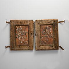 DOORS, Sweden, folk art, early 19th century (1800s) -- DÖRRPAR Allmoge, 1800-talets första hälft. Ca 62 x 48 each.