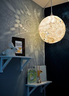 How to make a doily lamp. Perfect for a kid's room or anywhere else for that matter!