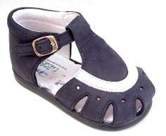DE OSU Spain -Baby Boy/Girls Navy Blue Nubuck White Leather Hightop Sandals-Euro #DeOsu #Sandals