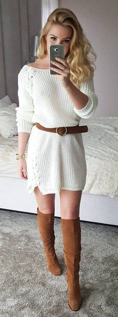 #winter #fashion //  White Knit Dress // Camel Boots // Camel Belt