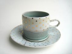 READY TO SHIP Gold Polka Dot Cloud Cup and by SilverLiningCeramics, $44.00
