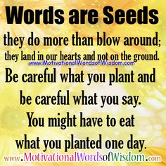 Words are Seeds - they do more than blow around; they land in our hearts and not on the ground. Be careful what you plant and be careful what you say. You might have to eat what you planted one day.