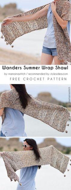 Wanders Summer Wrap Shawl Free Crochet Pattern #crochet #wrap #freepattern #crochetwrap