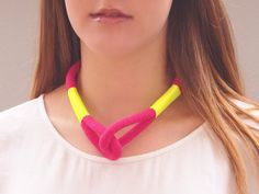 Pink and neon yellow rope statement necklace on Etsy, $40.00 AUD